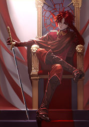 1boy absurdres boots formal head_rest highres male_focus military military_uniform pixiv_fantasia pixiv_fantasia_t red_eyes red_hair solo throne tinmo uniform