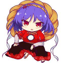 1girl blush chibi hair_ornament mirror open_mouth pandamonium purple_hair red_eyes rope shimenawa solo touhou waraji white_background yasaka_kanako