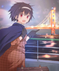 1girl black_gloves black_hair blue_cape bridge brown_jacket brown_skirt cape formal from_behind gloves golden_gate_bridge hair_between_eyes hairband hand_on_own_shoulder highres hiyou_(zhan_jian_shao_nyu) light lights looking_at_viewer looking_back open_mouth outdoors plaid plaid_jacket plaid_skirt pointing railing red_eyes shining short_hair skirt skirt_suit sky smile solo standing star_(sky) starry_sky suit suitcase suspension_bridge ujo water waves zhan_jian_shao_nyu