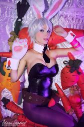 1girl adami_langley animal_ears bunnysuit carrot cosplay league_of_legends leotard looking_at_viewer lying nail_polish pantyhose photo riven_(league_of_legends) short_hair white_hair