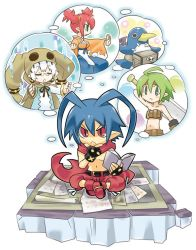 2boys 2girls ahoge antenna_hair artist_request beltbra blue_hair book creature disgaea eyes_closed female_brawler_(disgaea) female_warrior_(disgaea) glasses green_eyes green_hair hood imagining laharl makai_senki_disgaea multiple_boys multiple_girls pants pince-nez pointy_ears prinny red_eyes red_hair scarf shirtless shoes short_hair sitting skull_(disgaea) slit_pupils twintails white_hair