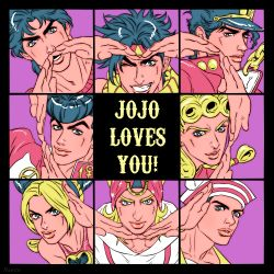 anchor_symbol blonde_hair blue_eyes blue_hair braid chains dixie_cup_hat double_bun gakuran giorno_giovanna grin hair_tie hat headband heart heart_hands higashikata_jousuke higashikata_jousuke_(jojolion) horseshoe johnny_joestar jojo_no_kimyou_na_bouken jojolion jonathan_joestar joseph_joestar_(young) kuujou_jolyne kuujou_joutarou lips marion-ville military_hat multicolored_hair one_eye_closed open_mouth peace_symbol pin pompadour scarf school_uniform single_braid smile steel_ball_run striped striped_scarf two-tone_hair