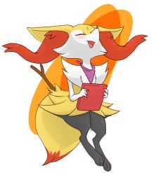absurdres braixen drawfag eyes_closed highres open_mouth pokemon simple_background standing stick