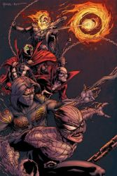5boys armor bald black_hair cape chains claws crossover dc_comics deadman fire flame ghost_rider glowing glowing_eyes green_eyes ground_vehicle haunt image_comics jackie_estacado marvel motor_vehicle motorcycle multiple_boys skeleton skull spawn spawn_(spawn) spikes superhero the_darkness the_haunt