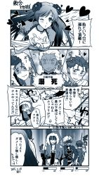 4koma archer armor battle blood blue blush bodysuit breasts choker cleavage comic cu_chulainn_(fate/grand_order) earrings fate/grand_order fate/stay_night fate_(series) flower heart hood jewelry lancer long_hair mata_hari_(fate/grand_order) monochrome one_eye_closed open_mouth short_hair spear sword torn_clothes weapon wink