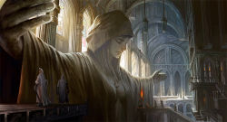 architecture breasts cape church cleavage eyes_closed fire flame gothic_architecture hood indoors jewelry lantern lips long_sleeves necklace noba outstretched_arms pendant pixiv_fantasia pixiv_fantasia_fallen_kings praying robe scenery spread_arms stained_glass statue sword weapon window