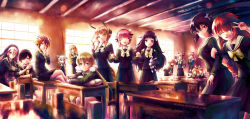 +_+ 6+girls :d ;d ^_^ adjusting_glasses against_wall ainzhou alternate_costume animal_costume arm_grab armband artist_name bags_under_eyes bespectacled black_hair black_serafuku black_shirt black_skirt blonde_hair blue_eyes bow braid breasts calamity_mary chair classroom closed_mouth cranberry cranberry_(mahoiku) crossed_arms desk dog_costume dog_tail dragon_tail earrings eyes_closed eyeshadow glasses glint habit hair_between_eyes hair_ornament hair_over_one_eye hairband hand_holding hand_on_another's_shoulder hardgore_alice head_tilt head_wreath highres holding horns indoors jewelry la_pucelle_(mahoiku) leaning_forward legs_crossed lens_flare lolita_hairband long_hair long_sleeves low_twintails magical_girl magicaloid44 mahou_shoujo_ikusei_keikaku mahou_shoujo_ikusei_keikaku_unmarked makeup medium_breasts minael motion_lines multiple_girls nemurin nemurin_(mahoiku) one_eye_closed open_mouth petting pillow pink_hair pleated_skirt pointy_ears purple_eyes purple_hair red_hair ripple_(mahoiku) ruler_(mahoiku) school_desk school_uniform serafuku shirt short_hair shuriken_hair_ornament siblings side_ponytail sidelocks single_wing sister_nana sitting skirt smile snow_white_(mahoiku) standing star star_earrings stuffed_animal stuffed_bunny stuffed_toy swim_swim tail tama_(mahoiku) tiara top_speed twin_braids twins twintails v very_long_hair wand watermark web_address weiss_winterprison white_wings window wings x_hair_ornament yunael