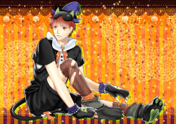 1boy animal_ears animal_hat brown_eyes cat_ears emiya_shirou fate/stay_night fate_(series) fishnets gloves halloween hat kogarasumaru paw_gloves paw_shoes red_hair shorts solo thighhighs torn_clothes torn_thighhighs