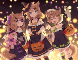 3girls animal_ears asymmetrical_legwear backpack bag bare_shoulders bat_wings black_dress black_gloves blue_eyes bow brown_hair collarbone dress eyepatch eyes_closed fang fox_ears fox_girl fox_tail frilled_dress frilled_sleeves frills ghost gloves hair_ornament hairclip halloween halloween_costume hat holding jack-o'-lantern long_sleeves looking_at_viewer looking_back multiple_girls open_mouth original ponytail puffy_short_sleeves puffy_sleeves pumpkin shiyano short_hair short_sleeves strapless strapless_dress striped striped_legwear tail thighhighs wide_sleeves wings witch_hat x_hair_ornament