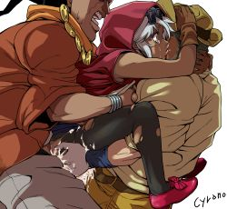 1girl anal artist_name beard blue_background breast_grab clothed_sex cum cyrano dark_skin double_penetration gangbang gloves groping hat hood jewelry jojo_no_kimyou_na_bouken joseph_joestar mariah mohammed_avdol multiple_boys pantyhose sex silver_hair stardust_crusaders sunglasses tears torn_pantyhose vaginal
