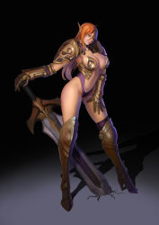 1girl absurdres armor bikini_armor boots contrapposto elf gauntlets goldengear870 green_eyes hand_on_thigh high_heel_boots high_heels highres navel pauldrons pointy_ears red_hair shadow solo sword thighhighs two-handed_sword weapon