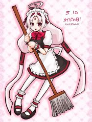1girl ahoge alternate_costume ankle_cuffs apron bow broom enmaided forehead_jewel full_body hair_tubes huge_ahoge long_hair low_twintails maid maid_headdress mary_janes puffy_sleeves red_bow red_eyes shoes solo twintails under_night_in-birth vatista very_long_hair waist_apron white_hair white_legwear wrist_cuffs