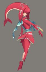 1girl anklet artist_name ass bracelet claws earrings fins from_behind highres jewelry lipstick looking_back makeup mipha monster_girl necklace sash shark_girl signature tail_fin the_legend_of_zelda the_legend_of_zelda:_breath_of_the_wild yellow_eyes zambiie zora