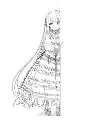 long_hair looking_at_viewer monochrome original sakiyo_cake simple_background solo very_long_hair white_background