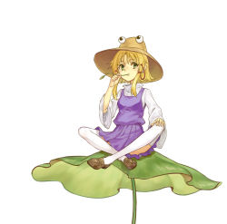 blonde_hair brown_shoes eyeball eyebrows_visible_through_hair green_eyes hair_ribbon hand_on_own_knee hat highres indian_style landuo_niangao leaf lily_pad moriya_suwako mouth_hold red_ribbon ribbon shoes simple_background sitting solo thighhighs touhou tress_ribbon white_background white_legwear wide_sleeves