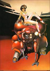 1girl breasts brown_hair highres looking_at_viewer red_eyes robot shirou_masamune short_hair