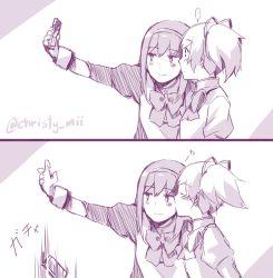2girls akemi_homura blush cellphone cheek_kiss comic highres kaname_madoka kiss long_hair mahou_shoujo_madoka_magica multiple_girls phone smartphone taking_picture yuri