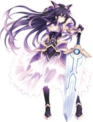 1girl armor armored_dress bow choker date_a_live dress eyebrows_visible_through_hair full_body gloves hair_between_eyes hair_bow highres long_hair looking_at_viewer pauldrons ponytail purple_eyes purple_hair serious solo standing sword transparent_background tsunako very_long_hair weapon yatogami_tooka