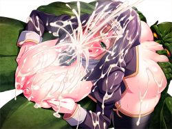 1girl 69 areolae ass ass_grab blush breast_squeeze breasts censored clothed_female_nude_male cum cum_on_breasts cum_on_clothes cum_on_hair cum_on_lower_body cum_on_upper_body cunnilingus ejaculation facial game_cg garter_straps green_eyes highres huge_breasts legs looking_away lying lying_on_person mattari_yufi monster mosaic_censoring nagayori nipples no_bra no_panties nun obui on_stomach orange_hair paizuri penis rena-hime_no_seiken_densetsu rokko short_hair simple_background smile sweat thick_thighs thighhighs thighs white_background