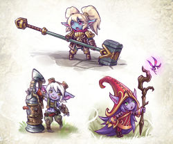 3girls animal_ears armor commentary goggles goggles_on_head green_eyes hat highres league_of_legends long_hair lulu_(league_of_legends) maxa' multiple_girls open_mouth pointy_ears poppy purple_hair purple_skin short_hair tristana twintails weapon white_hair witch_hat yordle