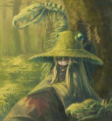 1girl blonde_hair forest hair_ribbon hat inari_(flandoll-scarlet-devil) long_hair moriya_suwako moss nature overgrown pointy_ears ribbon rope shimenawa skeleton snake solo touhou tree