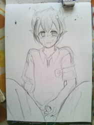 1boy blush bottomless bukien18 cum foreskin inazuma_eleven looking_at_viewer male matsukaze_tenma monochrome penis photo shota sitting sketch soccer_uniform solo t-shirt tears testicles uncensored uniform