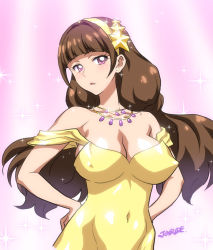 1girl :o amanogawa_kirara arm artist_name bare_arms bare_shoulders blue_eyes breasts brown_hair cleavage covered_navel cowboy_shot dress earrings erect_nipples female glint go!_princess_precure hair_intakes hair_ornament hairband hands_on_hips head_tilt highres jewelry joy_ride large_breasts long_hair looking_at_viewer low_twintails neck necklace off-shoulder_dress off_shoulder open_mouth parted_lips pink_eyes precure serious shiny shiny_clothes sketch skin_tight solo sparkle star star_hair_ornament upper_body very_long_hair yellow_dress yellow_hairband