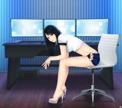 ahoge bare_legs black_hair blue_background brown_eyes computer display from_side high_heels highres indoors khalitzburg leaning_forward legs long_hair long_legs looking_at_viewer monitor no_panties o-ring_bottom original parted_lips shirt short_shorts short_sleeves shorts sitting thighs vertical-striped_background vertical_stripes wall white_shirt