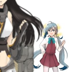 2girls ahoge blurry depth_of_field fingerless_gloves gloves grey_eyes grey_hair imitating kantai_collection kiyoshimo_(kantai_collection) long_hair machinery midriff multiple_girls nagato_(kantai_collection) open_mouth sally_wasabi smile sparkle thighhighs twintails very_long_hair