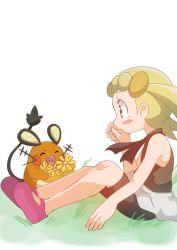 blonde_hair blue_eyes dedenne eureka_(pokemon) flower hainchu pokemon