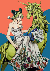 1girl araki_hirohiko_(style) bare_shoulders bouquet braid breasts cleavage collarbone double_bun dress flower green_hair green_lipstick horn jojo_no_kimyou_na_bouken kuujou_jolyne lily_(flower) lipstick makeup multicolored_hair qi_(bleachcxn) rose sidesaddle single_braid sitting strapless strapless_dress unicorn white_dress