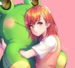 1girl animal_costume brown_eyes brown_hair frog frog_costume gekota hug mascot misaka_mikoto nyamunyamu short_hair sweater_vest to_aru_kagaku_no_railgun to_aru_kagaku_no_railgun_s to_aru_majutsu_no_index