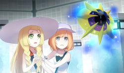 2girls alternate_costume alternate_hair_color aqua_eyes bare_shoulders baseball_cap blonde_hair braid cosmoem dress female_protagonist_(pokemon_sm) green_eyes hand_on_another's_shoulder hat highres lillie_(pokemon) long_hair multiple_girls open_mouth orange_hair pokemon pokemon_(game) pokemon_sm rupinesu shirt short_hair sleeveless sleeveless_dress sleeveless_shirt twin_braids upper_body z-ring