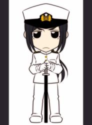 1girl black_hair brown_eyes chibi commentary_request epaulettes female_admiral_(kantai_collection) frown gloves hat holding holding_sword holding_weapon jacket kantai_collection katana long_hair looking_at_viewer low_ponytail military military_hat military_uniform neko_majin peaked_cap sheath sheathed sidelocks solo standing sword uniform weapon white_background
