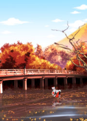 1girl animal_ears autumn_leaves blue_sky bridge cloud detached_sleeves forest hat highres inubashiri_momiji nature reflection river satou_yuuki shield shirt silver_hair skirt sky solo sword tail tokin_hat touhou waves weapon wolf_ears wolf_tail