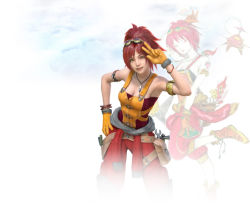 1girl 3d amano_yoshitaka bracelet breasts cleavage cloud final_fantasy final_fantasy_brave_exvius gloves goggles goggles_on_head jewelry lid_(ff_be) necklace official_art red_hair simple_background solo white_background yellow_eyes