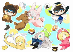 3boys :p ;d animal_costume animal_hat bear_costume black_hair blonde_hair blue-framed_eyewear blue_eyes brown_eyes bunny_costume cat_costume chibi dinosaur_costume dog dual_persona food frog_hat glasses green_eyes hair_over_one_eye hat honey honeypot ice_skates katsudon_(food) katsuki_yuuri long_hair makkachin male_focus medal multiple_boys one_eye_closed onigiri open_mouth penguin_costume pirozhki scarf silver_hair skates smile stuffed_animal stuffed_cat stuffed_toy tongue tongue_out viktor_nikiforov yanzhan yuri!!!_on_ice yuri_plisetsky