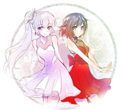2girls black_hair blue_eyes breasts cleavage commentary dress earrings iesupa jewelry multiple_girls ponytail red_dress ruby_rose rwby silver_eyes weiss_schnee white_dress white_hair