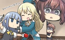 3girls :d ^_^ apple atago_(kantai_collection) beret disembodied_head eyes_closed food fruit funnels hamu_koutarou hat hatsukaze_(kantai_collection) highres holding kantai_collection long_hair marker multiple_girls open_mouth pan-pa-ka-paaan! pantyhose parody peeking_out pen pen-pineapple-apple-pen red_neckerchief saratoga_(kantai_collection) scared scarf school_uniform silver_eyes silver_hair smile smokestack translated trembling zoom_layer