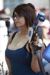 cosplay glasses large_breasts mei_(overwatch) overwatch photo tanktop