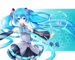 1girl blue_eyes blue_hair copyright_name detached_sleeves hatsune_miku hatsune_miku_(vocaloid3) headphones highres long_hair looking_at_viewer necktie outstretched_arms skirt smile solo spread_arms twintails very_long_hair vocaloid yuuki_kira