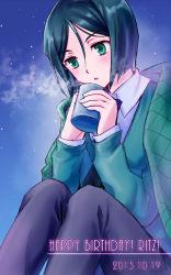 1boy akone androgynous bangs black_hair bob_cut cup dated fate/zero fate_(series) green_eyes happy_birthday mug night shawl sitting solo steam swept_bangs waver_velvet
