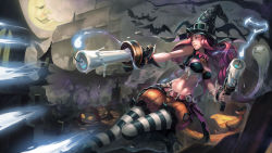 1girl bat belt black_stripes boots breasts candle crop_top ghost gun halloween hat high_heels highres iorlvm jack-o'-lantern league_of_legends lips long_hair medium_breasts midriff moon navel patterned_legwear pumpkin ruff sarah_fortune ship solo striped striped_legwear tombstone tree two-tone_stripes vest weapon white_stripes wide_hips witch_hat