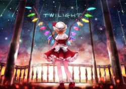 ascot blonde_hair bow crystal faceless fence flandre_scarlet from_behind hat hat_bow hat_ribbon matsutani meteor_shower mob_cap pillar puffy_short_sleeves puffy_sleeves ribbon short_sleeves side_ponytail sky star_(sky) starry_sky touhou twilight white_legwear wings
