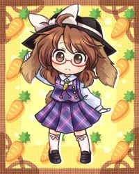 1girl :< animal_ears bow brown_eyes brown_hair bunny_ears bunny_tail carrot glasses hat hat_bow lowres plaid plaid_skirt plaid_vest pote_(ptkan) red-framed_glasses skirt solo tail touhou usami_sumireko