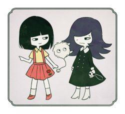 2girls ayu_(mog) black_hair dress gakkou_no_kowai_uwasa:_hanako-san_ga_kita!! hair_over_one_eye hanako_(hanako-san_ga_kita!!) high_heels long_hair lowres multiple_girls skirt skull sweat yamiko_(hanako-san_ga_kita!!)