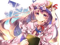 1girl blush book bow capelet crescent dutch_angle hair_bow hat long_hair long_sleeves looking_at_viewer mob_cap patchouli_knowledge purple_eyes purple_hair solo sweetroad touhou upper_body wide_sleeves