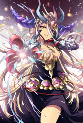 1girl blonde_hair breasts claws cleavage dress foreshortening grin heterochromia highres horns long_hair pikomarie purple_eyes puzzle_&_dragons smile solo sonia_gran_reverse standing very_long_hair yellow_eyes