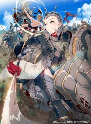 1girl armor artist_request company_connection copyright_name fire_emblem fire_emblem_cipher fire_emblem_if gauntlets grey_eyes grey_hair highres horse horseback_riding looking_back multiple_boys naginata outdoors polearm riding short_hair sophie_(fire_emblem_if) thighhighs weapon
