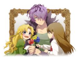 1672 1boy 2girls :d ascot bad_id blonde_hair blue_rose blush brown_hair coat dress flower garry_(ib) girl_sandwich good_end green_dress hair_over_one_eye ib ib_(ib) long_hair long_sleeves mary_(ib) multiple_girls open_mouth picture_frame purple_hair red_rose rose sandwiched short_hair smile white_background yellow_rose